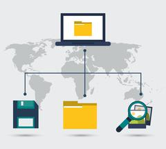 Laptop file dikette photo and lupe icon. Vector graphic - stock illustration