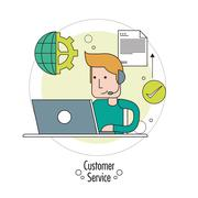 Operator man with headphone icon. Customer Sevice design. Vector - stock illustration