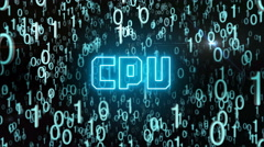 Bluish CPU concept with digital code Stock Footage