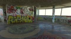 Abandoned Panoramic Tower of Monsanto Lisbon - street art grafitti work Stock Footage
