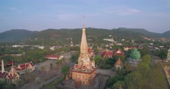 Wraparound Aerial Drone Shot of Buddhist Temple in Phuket Thailand Stock Footage