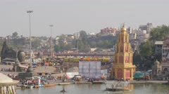 Ramkund ghat on Godavari river with Yashwantrao temple,Nashik,India Stock Footage