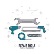 Wrench drill saw meter tool icon. Repair concept. Vector graphic Stock Illustration