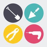 Drill spatula shovel pliers icon. Repair concept. Vector graphic - stock illustration