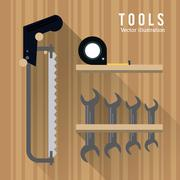 saw meter wrencht tool icon. Repair concept. Vector graphic - stock illustration