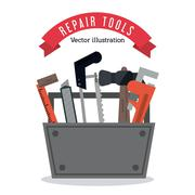 hammer ruler wrench saw icon. Vector graphic - stock illustration