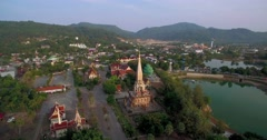Pullback Ascending Aerial Drone Shot of Wat Chalong in Phuket Thailand Stock Footage
