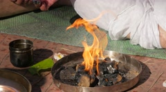 Ritual fire at ceremony,Nashik,India Stock Footage