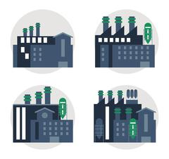 Plant set blue building chimney factory icon. Vector graphic Stock Illustration