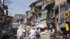 Busy street with traffic in old town,Nashik,India Stock Footage