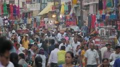 Crowded street with shops,Nashik,India Stock Footage