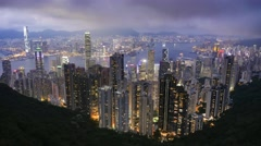 4K Hong Kong skyline sunset time lapse, cityscape. Extreme long shot, wide angle Stock Footage
