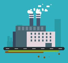 Plant street building chimney icon. Vector graphic Stock Illustration