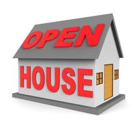 Open House Represents Rental Realtor And Sale 3d Rendering Stock Illustration