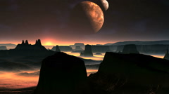 Two Moons And Sunrise On A Planet Of Aliens Stock Footage