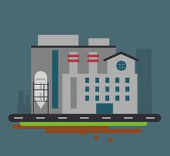 Plant street building chimney factory industry icon. Vector grap Stock Illustration