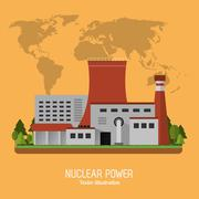 Nuclear plant power industry icon. Vector graphic Stock Illustration