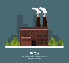 Plant trees building chimney factory industry icon. Vector graph Piirros