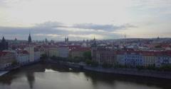 Drone camera tracks sideways across the Prague Skyline. Stock Footage