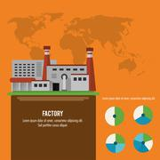 Plant infographic map earth factory icon. Vector graphic Stock Illustration