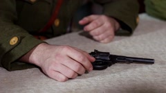 Hands soldier revolver on the table. Historical reconstruction Stock Footage