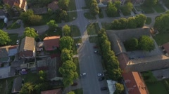 Aerial: European Suburb panoramic view on sunny summer day Stock Footage