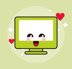 Computer kawaii cartoon happy cute icon. Vector graphic Stock Illustration