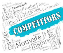 Competitors Words Indicating Adversaries Opponent And Adversary - stock illustration