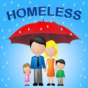 Homeless Family Indicating Destitution Household And Abandoned - stock illustration