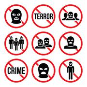 Stop terrorism, no crime, no terrorist group warning signs Piirros