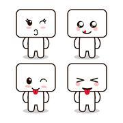 Kawaii cartoon face expression frames cute icon. Vector graphic - stock illustration