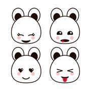 Bear teddy kawaii cartoon cute icon set. Vector graphic Stock Illustration