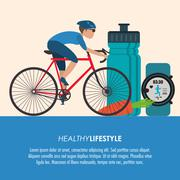 Bike racing male cartoon healthy lifestyle icon. Vector graphic Stock Illustration
