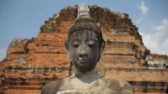 Close up of Buddha statue in Ayutthaya Historical Park, Thailand Stock Footage