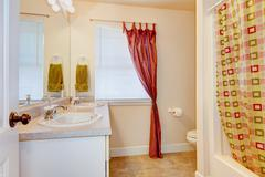 Bathroom interior with two sinks and big mirror. Also red curtain. Northwest, - stock photo