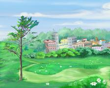 Rural Landscape with Lonely Tree and Small City on Background - stock illustration