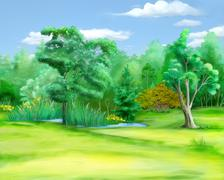 Field at the Edge of the Forest in a Summer Day Stock Illustration