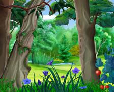 Small Pond in the Forest in a Summer Day Stock Illustration