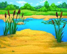 Reeds by the River in a Summer Day Stock Illustration