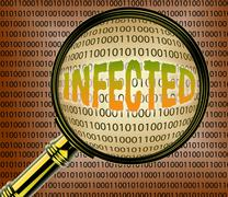Infected Data Representing Searching Online And Bytes - stock illustration