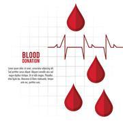 drop pulse cardio blood donation icon. Vector graphic - stock illustration