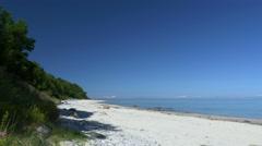 Beach scene with blue sky. Rügen - Baltic Sea. Stock Footage