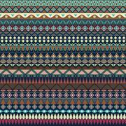 Colorful tribal vintage ethnic seamless pattern - stock illustration