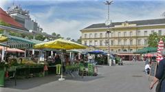 The vegetable market in Klagenfurt Stock Footage