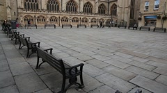Empty square at the Bath Abbey - gentle tilt onto the Abbey Stock Footage