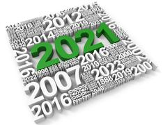 Two Thousand Twenty-One Represents Happy New Year And Annual 3d Rendering Stock Illustration