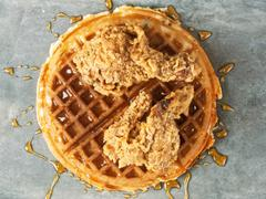 Rustic southern american comfort food chicken waffle Stock Photos