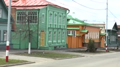 Wooden houses in the old street Stock Footage