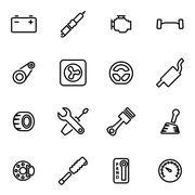 Vector line car parts icon set Stock Illustration