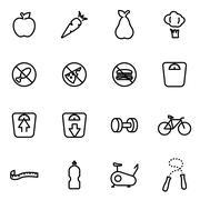 Vector line diet icon set - stock illustration